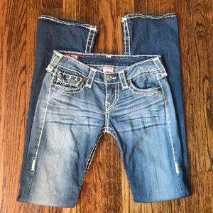 True Religion Becky Super T White Stitch Jeans